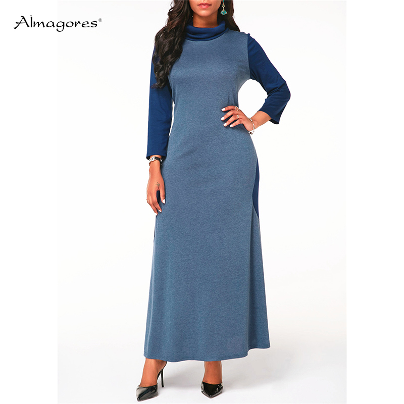 Casual Turtleneck Straight Cotton Dress Women 2018 Autumn Winter Ankle Length Dress Patchwork Long Sleeve Blue Big Swing dress