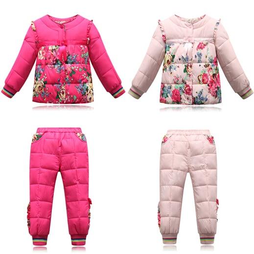 -10 Degree Russian Winter Children Clothing Girls Winter Waterproof Kids Clothing Set Parka Jackets High Quality Girls Snow Wear