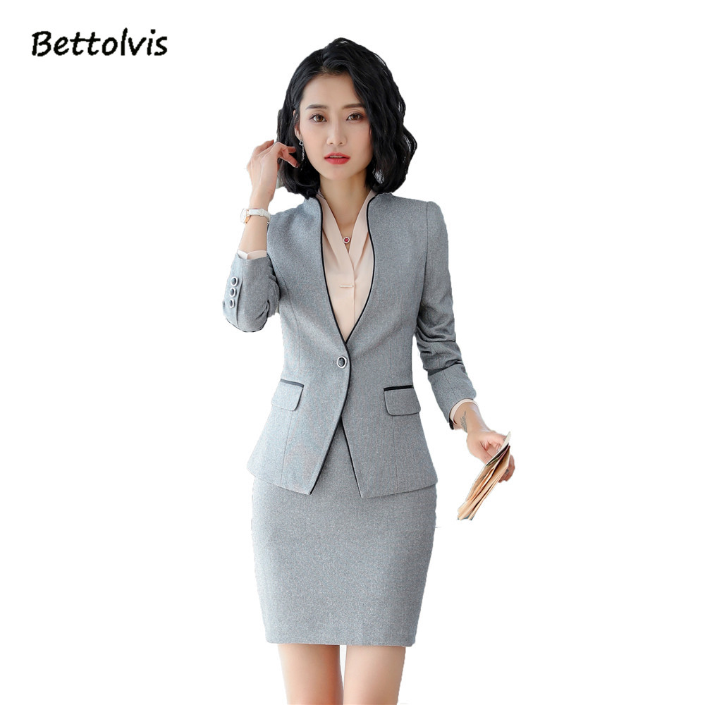 2018 Spring Autumn female work wear long sleeve blazer with skirt S-5XL Black Gray Skirt suits pantalones suits traje mujer