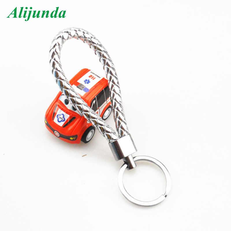 PU de couro trançado trançado corda anel duplo suporte adequado para DIY bag pingente chaveiro chaveiro carro homens e mulheres keychain