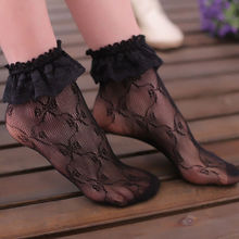 2019 Hot Women Lace Ruffle Hollow Out Floral Pleats Fishnet Hole Short Ankle Socks New arrival недорого