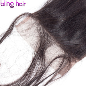Image 5 - Bling Hair Brazilian Loose Wave Closure with Baby Hair Remy Human Hair Lace Closure 4x4 Middle/free/three Part Natural Color
