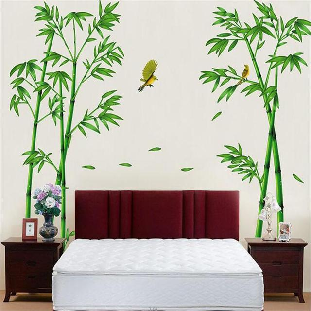 2pcs/set large green bamboo forest wall sticker for bedroom tv sofa