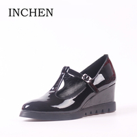 INCHEN 6 5cm Heel High Wedges Patent Leather Woman Pumps 2017 Hot Sale Spring Autumn Office