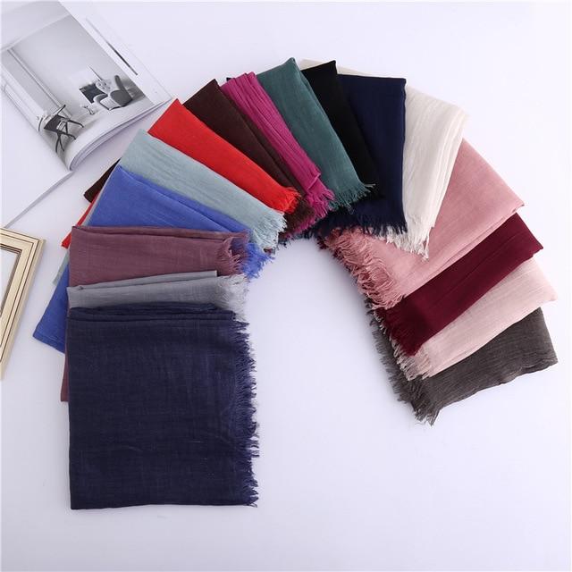 Spring Women Cotton Linen   Scarf   Plain Solid Colorful Large Winter   Scarves     Wraps   Stoles Pashmina Muslim Hijabs Femme 100*180cm