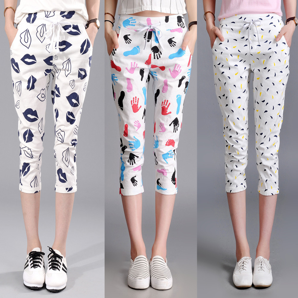 2018 summer Fashion casual Stretch Waist female women girls harem calf-length pants trousers clothing clothes
