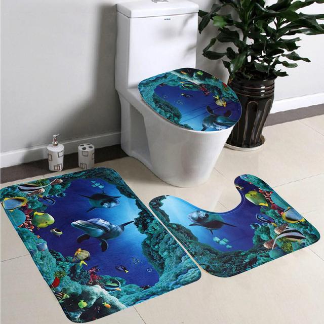 3 Pieces/set Dolphin Bathroom Toilet Mat Seat Ocean Underwater Rug European  Style Non