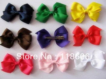 130PCS/lot 4.5''-5'' Girls Hair Ribbon Bows With Clips, Boutique Baby Hair Bows Clips, Children Hair Accessories Free Shipping