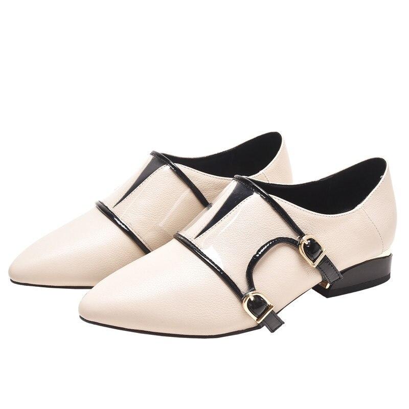 Mode Plates Ceinture Beige Chaussures Boucle Pour Femme gybf76Y
