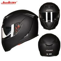 four seasons JIEKAI Double Lens Motorcycle matte black Helmet Full Face Motorbike motocross scooter Helmets size M L XL XXL