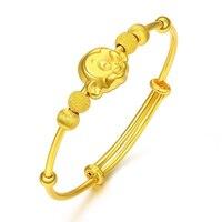 Твердые 24 К желтого золота браслет 999 Золото дети Обезьяна Браслет ребенка браслет