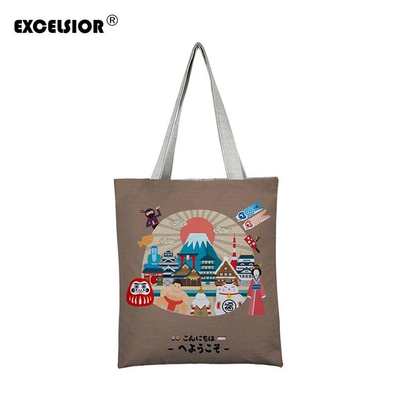 EXCELSIOR Cartoon Printed Women's Shoulder Bags Large Capacity Shopping Bag Customize Canvas Handbag Summer Beach Bag Bolsa