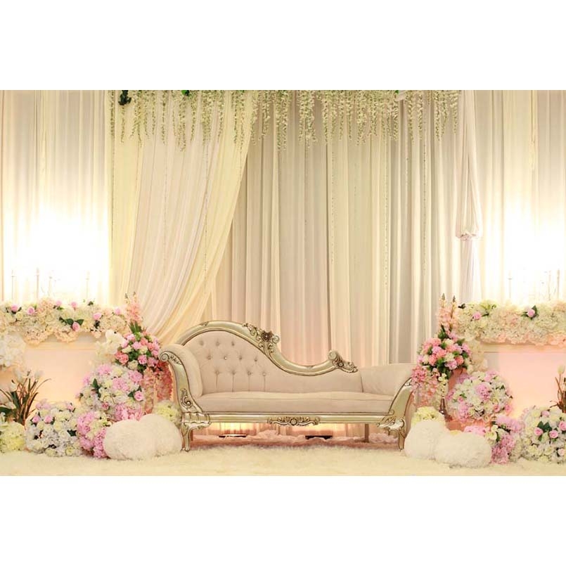 Vinyl Photography Background Romantic Flowers Gauze White Sofa Wedding Fotografia Backgrounds for Photo Studio G-221