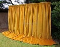 Новый Золотой Желтый противопожарные бархатные свадебные этап фон для свадьбы/трубы и простыня/Шторы для украшения дома