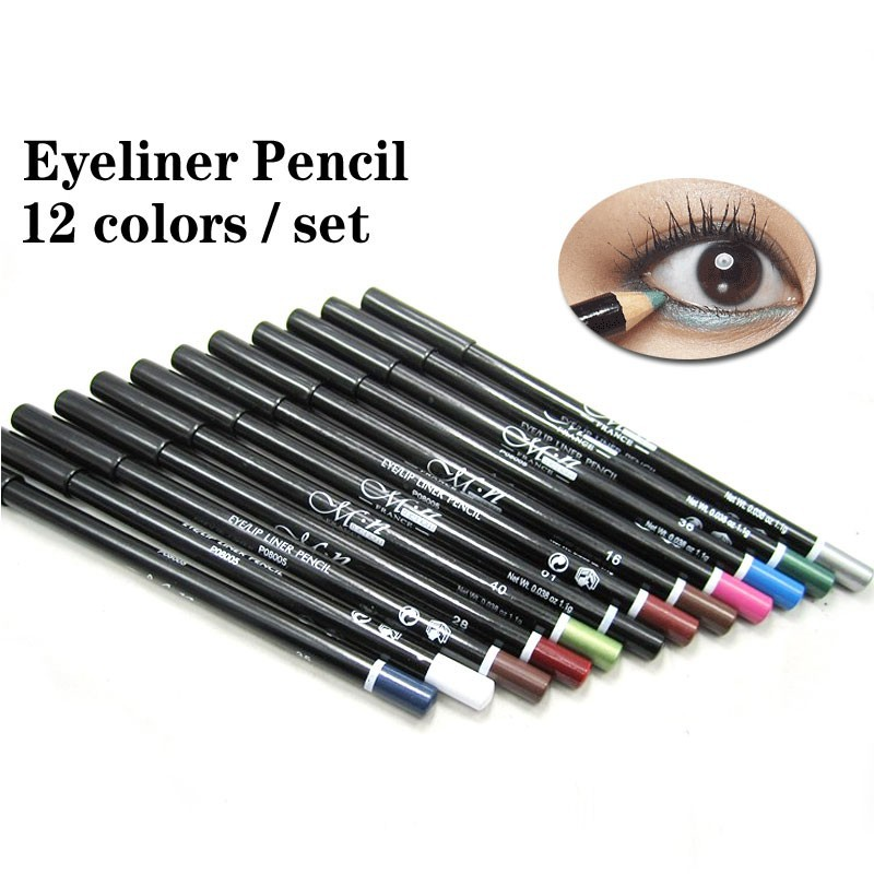 new hot sale waterproof eyeliner pencil 1 set 12 color cosmetics makeup pen eyebrow eye liner lip and eye liner tattoo