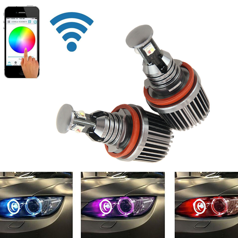 For bmw h8 wifi control led marker angel eyes halo rings rgb color change e92