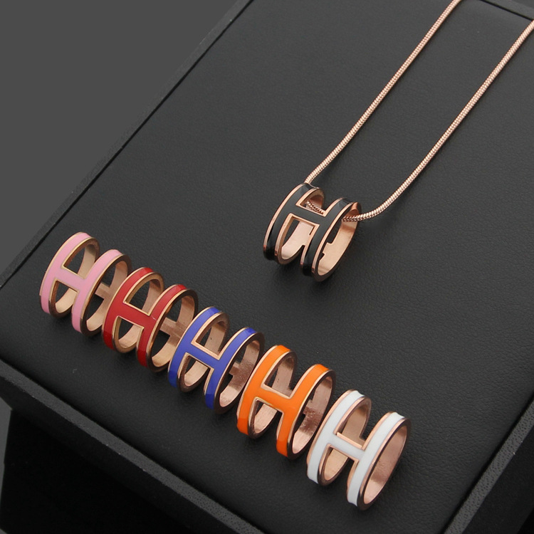 H letter pendant enamel necklace for women 15 pcs nylon face eye lip makeup brush set page 3