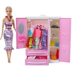 Image 5 - 1x สีชมพูน่ารักตุ๊กตาตู้เสื้อผ้า + 10x ผสมแขวน Mini Closet เจ้าหญิงตุ๊กตาเฟอร์นิเจอร์อุปกรณ์เสริมสำหรับตุ๊กตาบาร์บี้ตุ๊กตาบาร์บี้ตุ๊กตาบาร์บี้ของเล่น