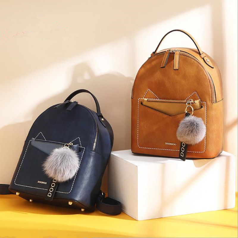 все цены на 2018 NWE Korean version of the autumn female shoulder bag wild cat college style PU bag simple fashion retro female backpack