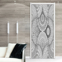 Gray Flower Pattern Style Door Stickers Mural PVC Self adhesive Waterproof Bedroom WallPaper Living Room home Decoration