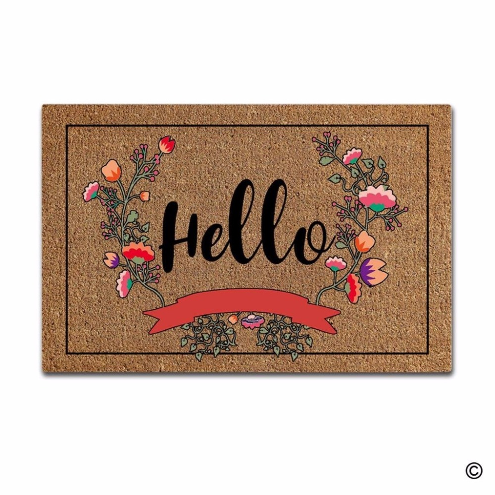 Funny Printed Doormat Entrance Floor Mat Flowers Hello Non slip Doormat 23 6 by 15 7 Inch Machine Washable Non woven Fabric in Mat from Home Garden