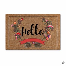 Funny Printed Doormat Entrance Floor Mat Flowers Hello Non-slip 23.6 by 15.7 Inch Machine Washable Non-woven Fabric