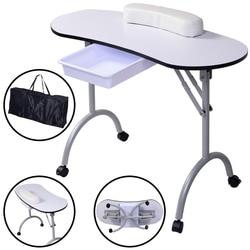 Giantex 2018 New Portable Kapsalon Meubilair Manicure Equipm Nail Table Station Desk Spa Beauty Folding Salon Table HB82300