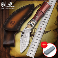 HX OUTDOORS Damascus high hardness gold antlers collection knife, field survival knife, outdoor straight knife