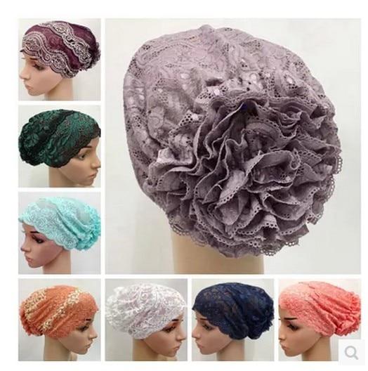 (20 Teile/los) 2019 Neue Stile Blume Spitze Muslimischen Underscarf Islamischen Hut Tt076