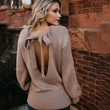 PinkyIsBlack sweater women pullover warm knitted Backless Bow tie lace up batwing sleeve o-neck sweater loose long sleeve contrast crochet bow tie neck pullover