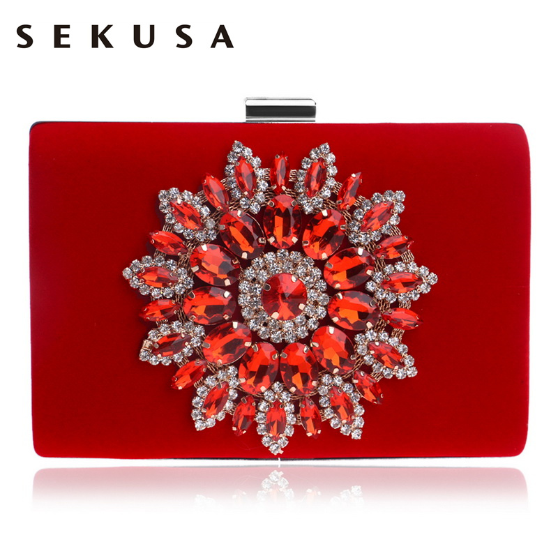 SEKUSA Single Side Sun Diamond Crystal Evening Bags Clutch Bag Hot Styling Day Clutches Lady Wedding woman bag Rhinestones Purse new single side figer diamond crystal evening bags clutch rhinestones handbag hot styling day clutches lady wedding women purse