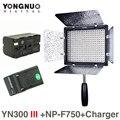 Cri95 llevó la luz video de yongnuo yn-300 iii 5500 k w np-f750 batería y cargador dslr cámara fotografía photo studio lighting lámpara