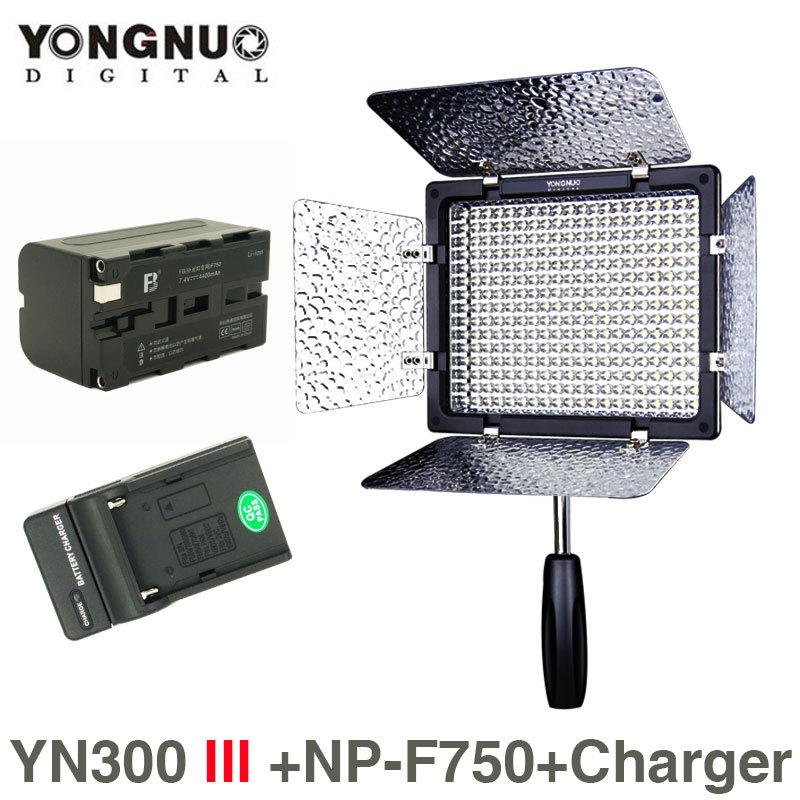 Prix pour Yongnuo YN-300 III 5500 K CRI95 LED Vidéo Lumière w NP-F750 Batterie & Chargeur Appareil Photo REFLEX NUMÉRIQUE Photographie Photo Studio éclairage lampe