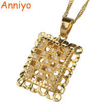 Anniyo Ethiopian Pendant Necklaces With Cubic Zirconia for Women Gold Color African CZ Jewelry Birthday Party Gifts #001714(China)