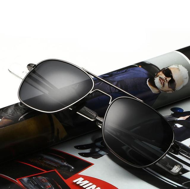 HBK Clásico AO BrandMen Polaroid Conducción gafas de Sol Polarizadas del Aviador de la Vendimia Gafas de Lentes de Espejo Oval Borde Completo Negro Shades