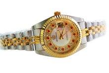 HK Marca de Lujo Rojo Rhinestone Señora Reloj Calendario único Reloj impermeable Mujer Exquisita Rosa de Oro Visten los relojes de Cuarzo de Acero