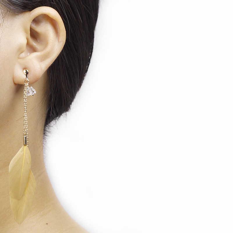 Feather พู่ต่างหูไม่เจาะหูคลิปขนนกสีขาวคลิปบนต่างหูโดยไม่ต้องเจาะผู้หญิงยาวต่างหูเครื่องประดับ CE098