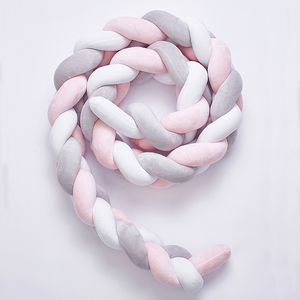 Image 3 - 200cm Baby Bed Bumper Four Ply Knot Handmade Long Knotted Braid Weaving Plush Baby Crib Protector Infant Knot Pillow Room Decor