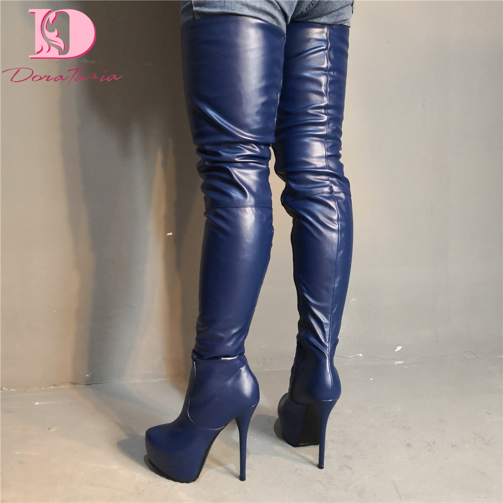 DoraTasia Brand Design Big Size 35-47 Sexy Women Shoes Party Dark Blue Thin High Heels Over The Knee Boots Long Boots WomanDoraTasia Brand Design Big Size 35-47 Sexy Women Shoes Party Dark Blue Thin High Heels Over The Knee Boots Long Boots Woman