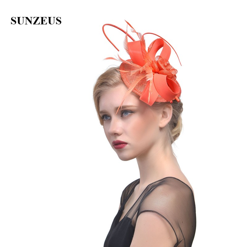 15d3da05 Burgundy Linen Hats for Women's Party Hair Accessories Feathers Elegant  Wedding Hats for Bridal tocados sombreros bodas SH28-in Bridal Headwear  from ...