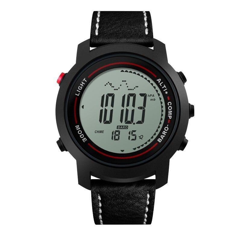 Degli uomini di Multi-Funzione 50 m Impermeabile Professionale Mountaineer Sport Orologio Con Altimetro Barometro Termometro Nero Argento