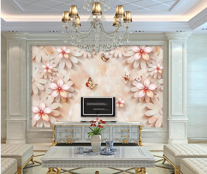ᐅ3d nature wallpapers Home Decoration Marble head relief flower TV ...