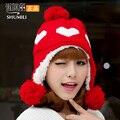 Novo 2017 chapéu feminino moda outono e inverno térmica malha chapéu do inverno chapéu orelha chapéu feito malha