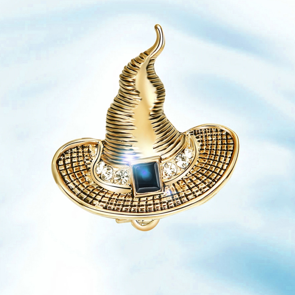 Stylish And Delicate Wizard Hat Brooch Retro Trend Style Metal Zircon Brooch