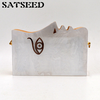 Women Bags New Vintage Unique Face Small Bag Acrylic Wood Mosaic Shoulder Crossbody Dinner Bags Handbags