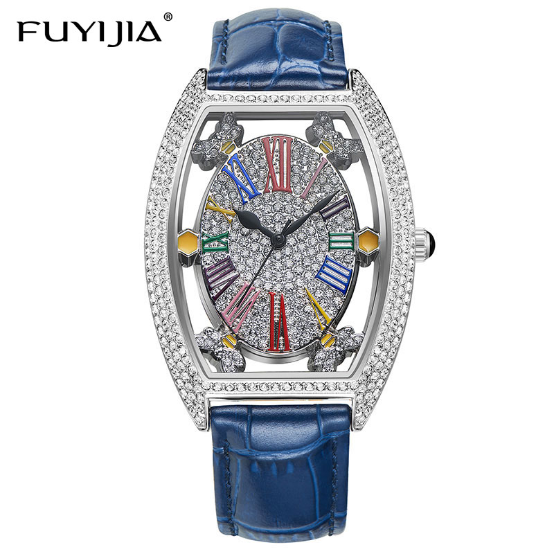 FUYIJIA New Hollow Barrel Type Female Watch Leather Belt Woman Quartz Watch Rose Gold Full Diamond Roman Numerals Fashion WatchFUYIJIA New Hollow Barrel Type Female Watch Leather Belt Woman Quartz Watch Rose Gold Full Diamond Roman Numerals Fashion Watch