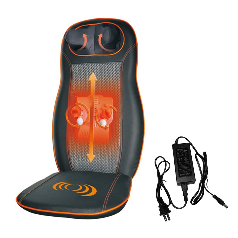Full Car Seat Massager Cushion Chair Pad with Heating & Vibrating Back Neck Massage Cushion for Car Home Office