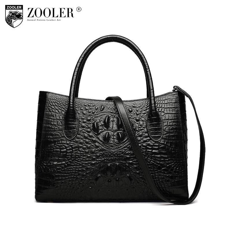 ZOOLER Genuine leather Alligator Pattern bags for women 2017 Ladies retro design handbag Large Capacity Tote shoulder bag X100