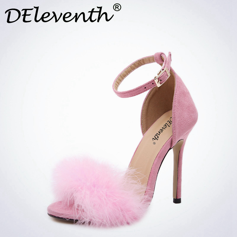DEleventh Woman Summer Shoes Gladiator High-Heeled Sandals 2017 Fur Fashion Stiletto Heels Sandlias Women Sandals Sexy Shoes 43