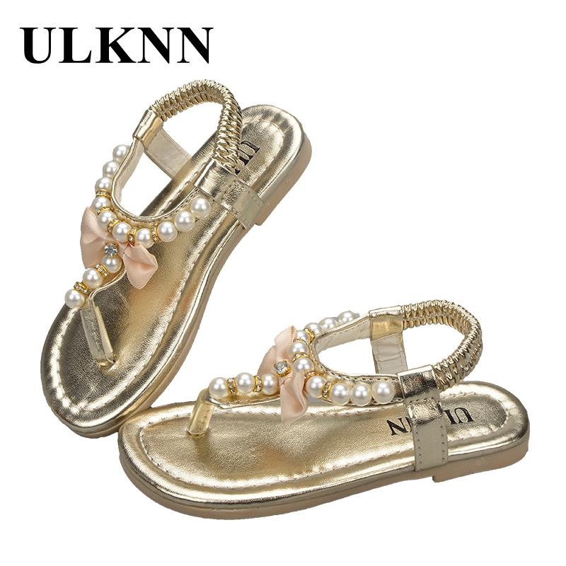 ULKNN Roman Girls Sandals Summer Beach Kids Shoes Flat Gladiator Butterfly Knot Beading Children Shoe Toddler Baby Casual Sandal